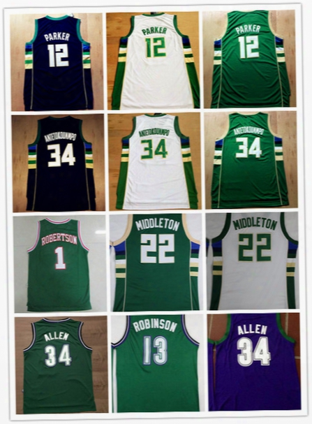 Top Quality #22 Khris Middleton 34 Giannis Antetokounmpo Jerseys 12 Jabari Parker Throwback 1 Oscar Robertson 34 Ray Allen 13 Glenn Robinson