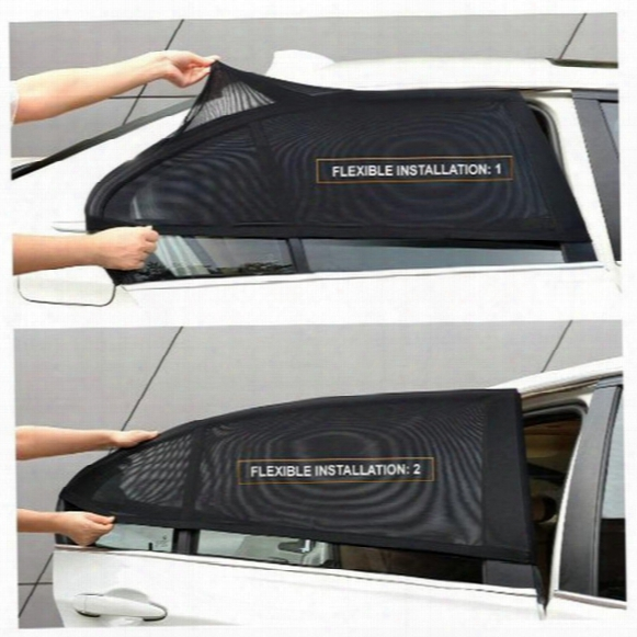 Wholesale- 2pcs Car Window Cover Sunshade Curtain Uv Protection Shield Sun Shade Visor Mesh Solar Mosquito Dust Protection Car-covers New