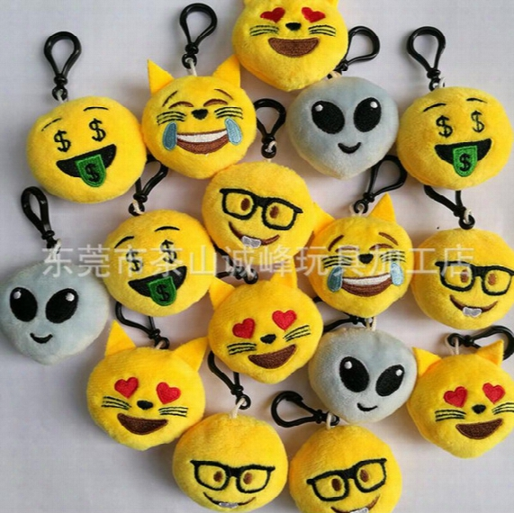 Wholesale Cat Face Alien Cartoon Emoji Expression Keychains Soft Plush Key Chains Women Handbag Key Rings Best Gift For Kids