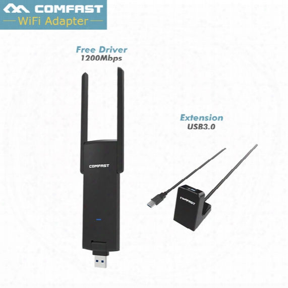 Wholesale- Comfast Usb Wifi Adapter Free Driver 1200mbps 2.4ghz +5 Ghz Dual-band Wi-fi Adapter Ac Wifi Dongle Network Card+usb3.0 Extension