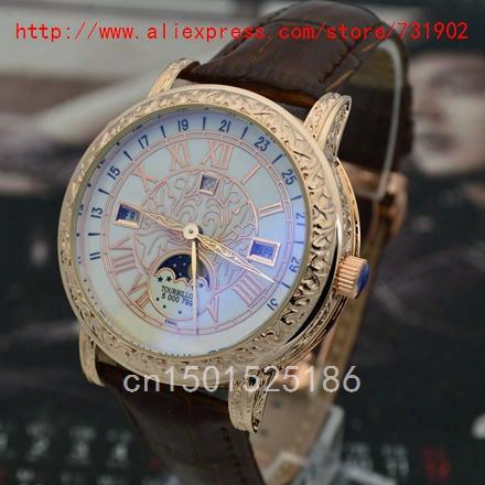 Wholesale-free Shipping! Stainless Steel Men Carved Luxury Patel Automatic Quartz Style Watch The Moon And Stars