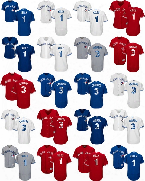 Wholesale Mens Womens Kids Toronto Blue Jays 3 Ezequiel Carrera 1 Kelly Grey Blue Red White 100% Stitched Cool/flex Base Baseball Jerseys