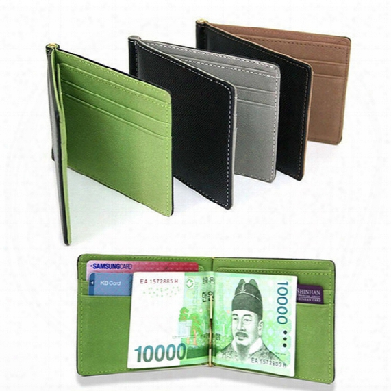 Wholesale- New Fashion Simple Designer Men Money Clips Wallets With Metal Clamp Women Slim Purses With Card Slots 11.3*8.2*0.8 Cm