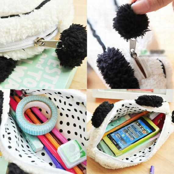 Wholesale- Soft Plush Panda Pencil Phone Card Case Cosmetic Makeup Bag Pouch Purse