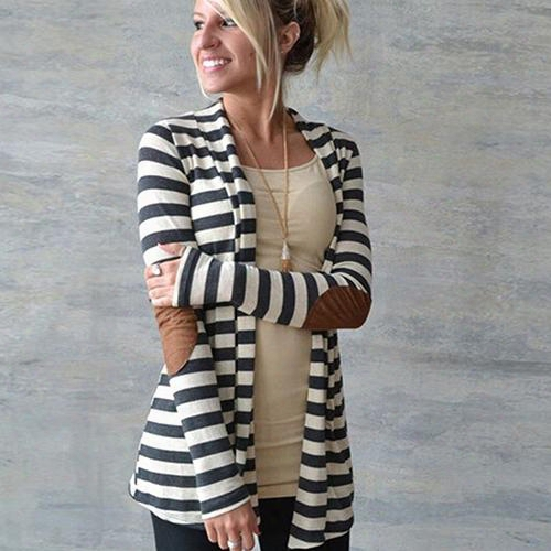 Wholesale- Women's Casual Long-sleeved Arm Patches Striped Cotton Blend Cardigan Jacket 09wg