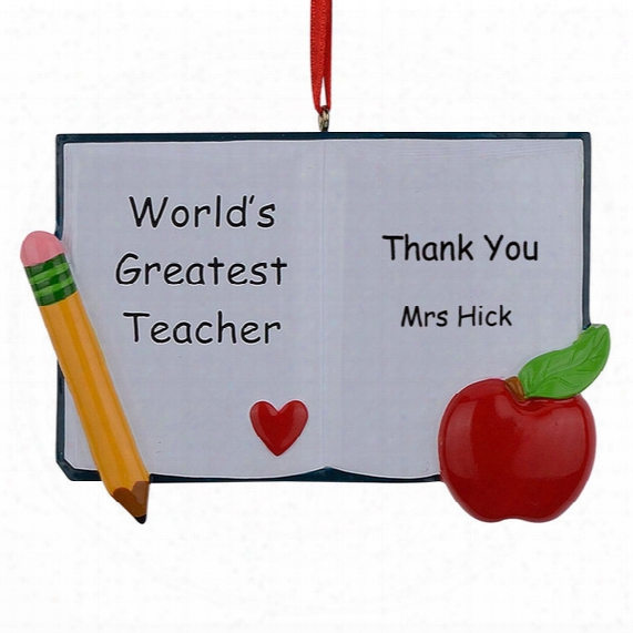 World's Greatest Teacher Book Personalized Polyresin Christmas Ornaments As For Holiday Gifts Home Decor Car Ornaments