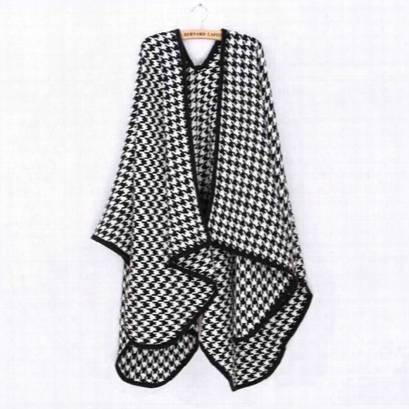 Za 2016 Winter Houndstooth Poncho Soft Moben Plaid Cape Check Scarf For Women Fashion Knitwear Zs70