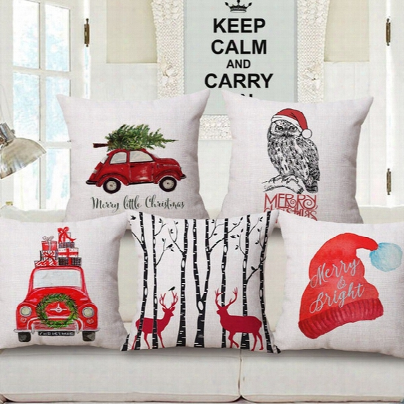 12 Styles Merry Christmas Cushion Cover Colour Paintings Reindeer Elk Red Retro Car Xmas Tree Cushion Covers Beige Linen Pillow Case Gift