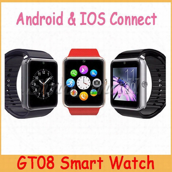 2016 Hot Sale Gt08 Smart Watch Bluetooth Wearable Support Android & Ios Watch With Sim Card Slot Multi-function Smart Watch