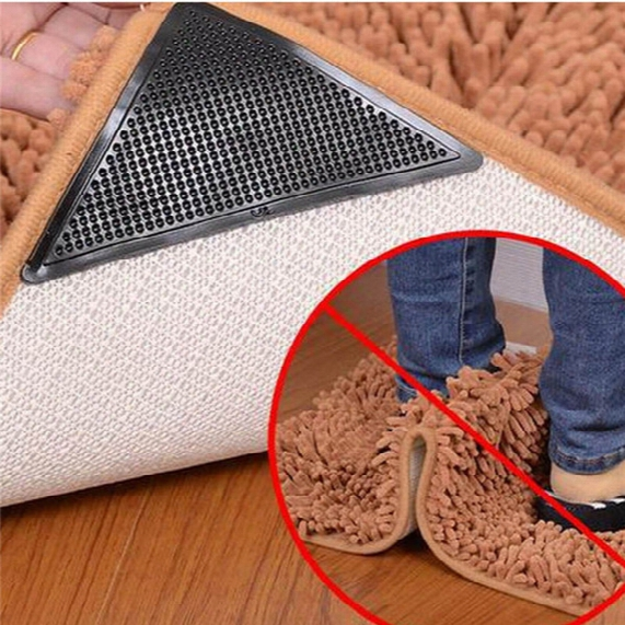 4pcs Reusable Silicone Rug Carpet Mat Grippers Non Slip Corners Anti Skid Home Bathroom Living Room Pad 14.8*10.7*10.7cm