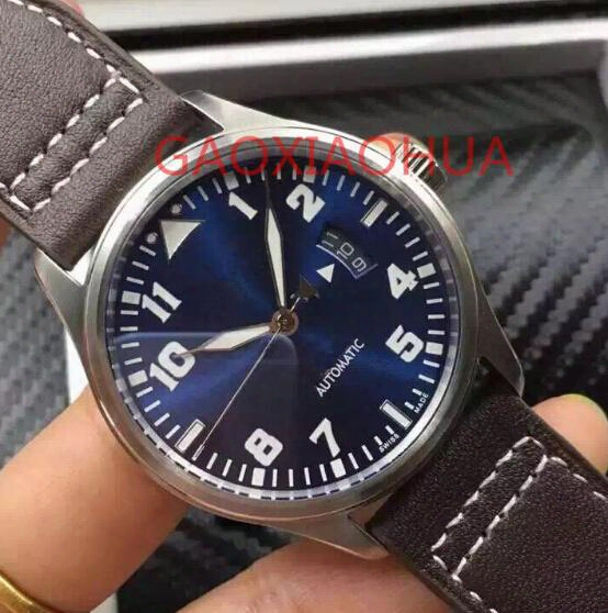 A- Machine Automatic Watches Sexy Night Dark Blue Leather Clocks Power Reserve Waterproof Prince Pilot Hour 7 Day 7day Mechanical Watch