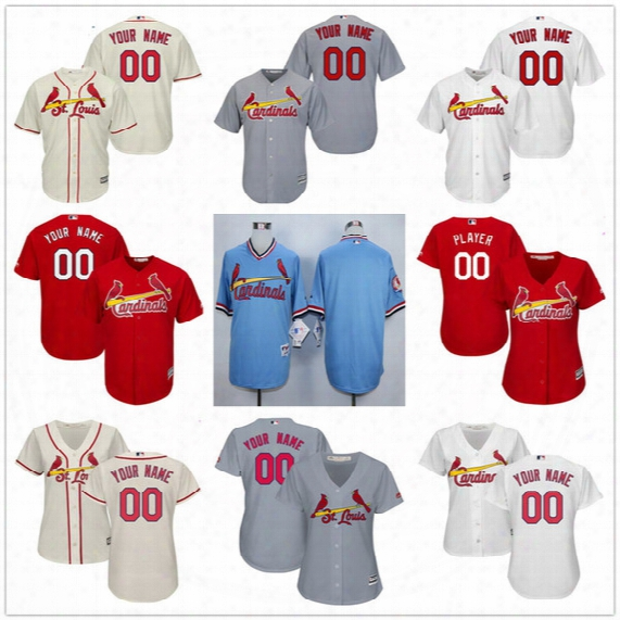 Customized St. Louis Cardinals Mens Womens Kids Gray Road White Cream Red Blue Custom Stitched Your Any Own Name Number Jerseys S,4xl