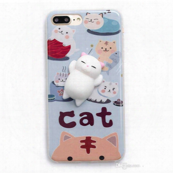 For Iphone 7 7plus Soft Squishy Silicone Cat Toys Cartoon Cute Pattern Back Cover Phone Tpu Cases For Iphone 6s 6plus