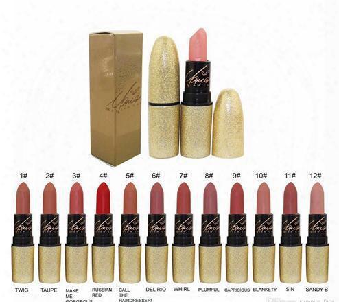 Free Shipping 12pcs/lot New Arrival Brand Make Up Lip Stick Golden M Carey Lip Stick Matte Lipstick