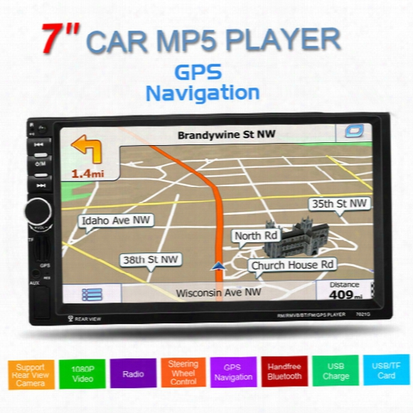Gps 7inch Touch Screen Support Hands-free Calls Car Stereo Mp5 Player Fm Usb Sd Tf Bluetooth Radio + Map Cmo_21d