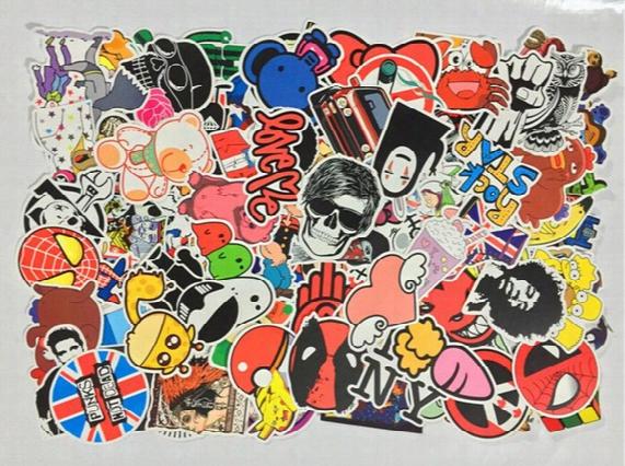 High Quality 200pcs/lot Multi Design Random Music Film Vinyl Skateboard Guitar Travel Doodle Graffiti Decal Cute Fashion Car Funny Stickers