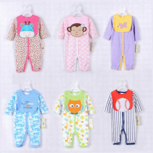 Infant Apparel Super Cute Cartoon Rompers Sets New Born Baby Long Sleeved Romers With Pinafore Full Cotton Baby Kids Clothing Babywear 9511