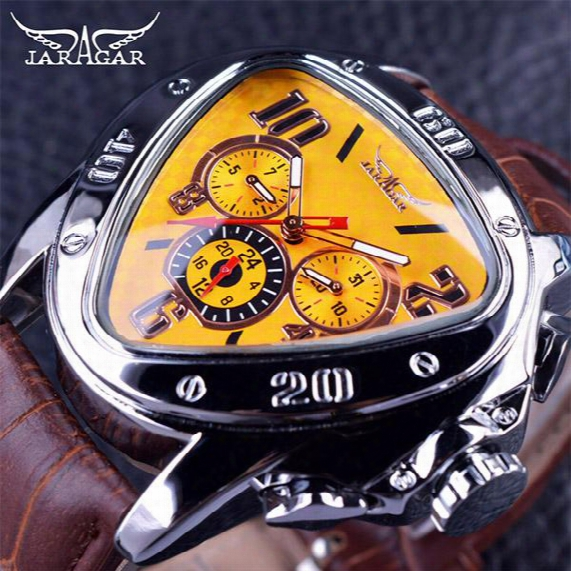 Jaragar Sport Fashion Design Geometric Triangle Case Brown Leather Strap 3 Dial Men Wrist Watch Top Brand Luxury Automatic Watch Clock
