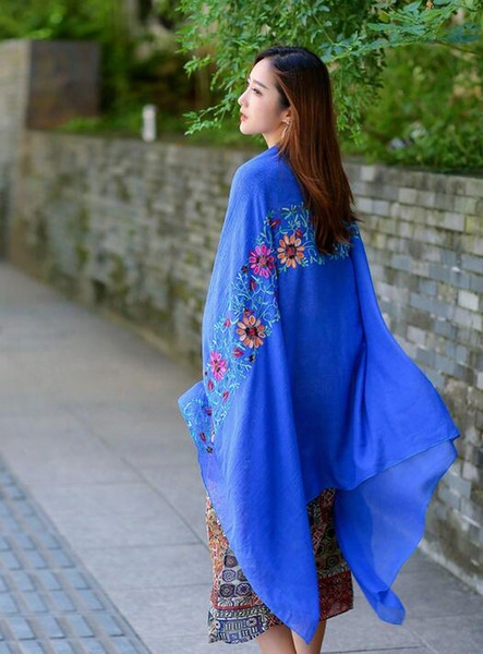 Korean Stylish Ethic Floral Embroidery Women Winter Autumn Scarf Shawls Many Colors Available Size 90x180cm