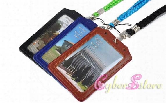 Leather Id Badge Card Holder Neck Lanyard Strap Lanyard Sling Pvc Name Card Pocket Pouch For Identity Student Expo