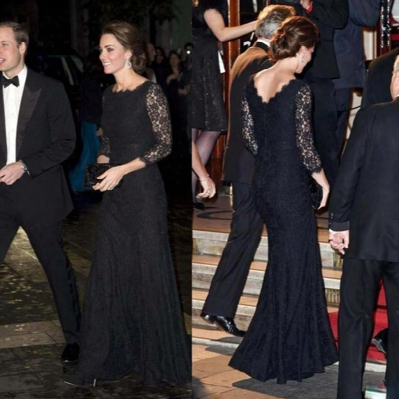 Long Sleeve Black Lace Evening Dresses Kate Middleton 2015 Celebrity Dress Red Carpet Dress Vintage Jewel Neck Evening Gowns Formal Dresses