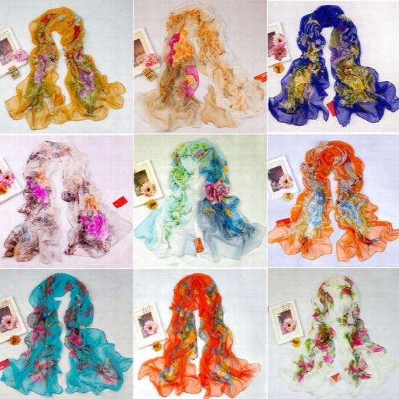 Mic 16styles 160x50cm New Women's Fashion Georgette Long Wrap Shawl Beach Silk Scarf Scarves Fashion Accessories
