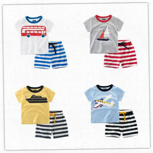 New Arrival Baby Boy Cartons Clothes Suit 2017 Kids Clothing Sets Cotton Short Seeve T-shirt+ Striped Pants Children Outfits Suit