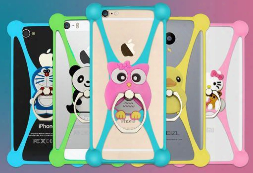 New Cartoon Ring Stand Soft Silicnoe Case Holder For Cell Phone 3.5 - 5.5 Inch Bumper Frame Cover Grip