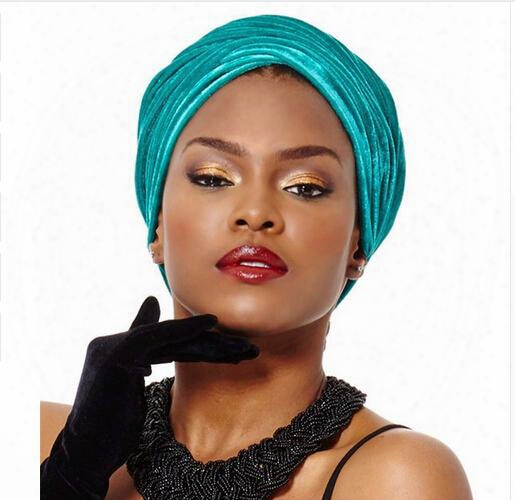 New Women Luxury Pleated Velvet Turban Hijab Head Wrap Extra Long Tube Indian Headwrap Scarf Tie