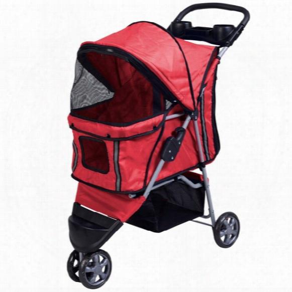 Pet Stroller Cat Dog 3 Wheels Stroller Travel Folding Easy Walk Carrier Red