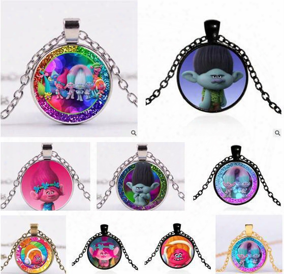 Poppy Trolls Necklaces Dreamworks Glass Jewlery Body Chain Movie Cartoon Jewelry 114 Design Trolls Pendant Necklaces For Best Xmas Gift