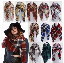 5pcs Lady Blanket Bulk Scarf Tartan Grid Plaid Scarves Christmas Party Cozy Wrap Shawl Multi-Colored For Women Ladies Blogger Favorite