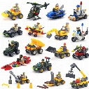 Cars Building Blocks Fire truck police car Mini Figure Toys Ninja figures crane Raytheon Reconnaissance car tank Excavator Assault car Racer