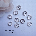 (J0004) 100pcs/lot,6mm bar,outer size:10mm,round rhinestone buckle for invitation card,silver or gold plating