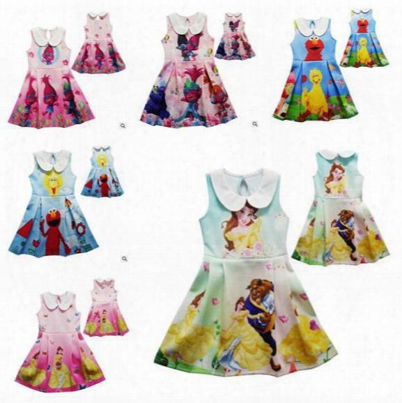 Trolls Elmo Girls Dress Kids Clothing Beauty And Beast Princess Belle Dress Summer 2017 Cosplay Costume Cartoon Children Clothing Best Gifts