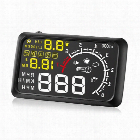 Universal Car Hud Head Up 5.5 Lcd Display Obdii Car Styling Car Kit Fuel Overspeed Km/h W02 With Anti-slip Pad