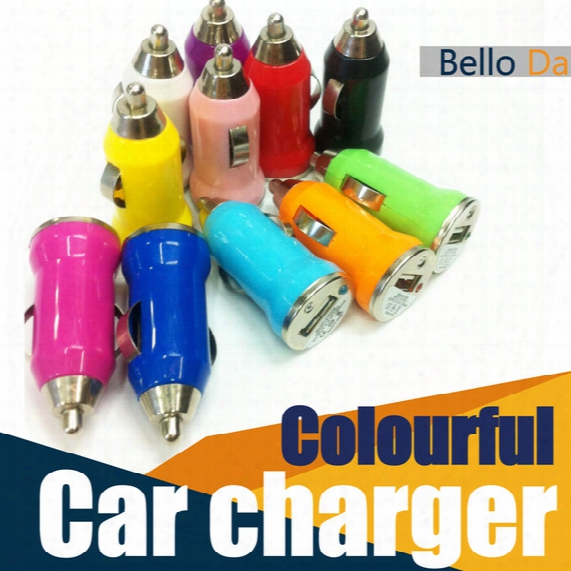Usb Car Charger Colorful Bullet Car Charge For Phone5/6 Universal Adapter For Mobile Phone 200 Pieces Dhl Free Shipping
