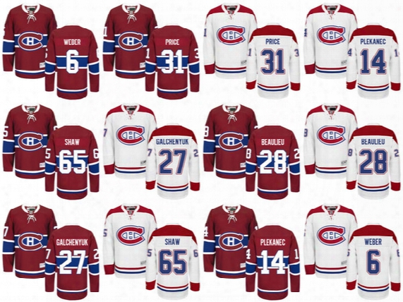 Wholesale Mens Montreal Canadiens #31 Carey Price Hockey Jerseys Ice Winter Jersey #27 Alex Galchenyuk #65 Andrew Shaw #6 Shea Weber