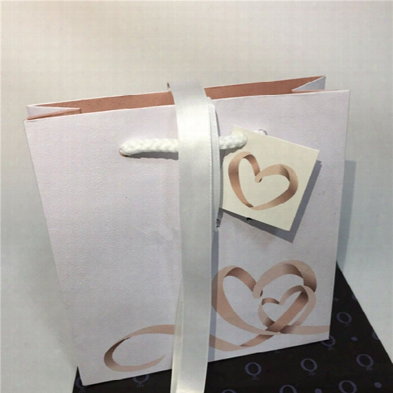 With Little Heart Paper Cardboard Bag With Ribbon Replacement Package Display European Style For Pandora Charm Bead Earrings Dangle Pendant
