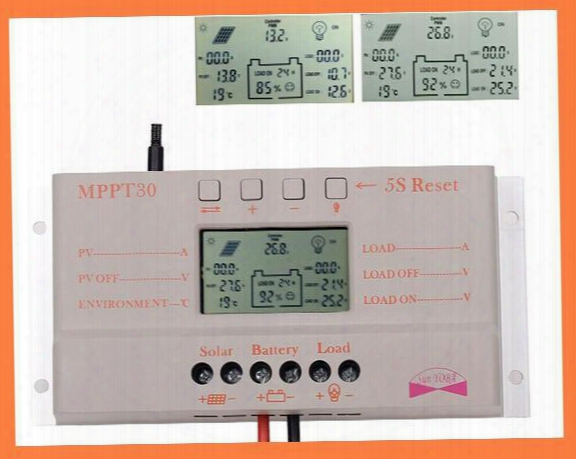 2015 30a Mppt Lcd Solar Charge Controller 12v/24v 380w/760w Solar Panel Regulator Auto Work,hot Sale A3*