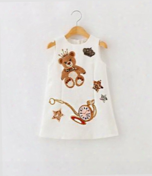 2016 Autumn Children Girls Cute Pear Printing Sequins Star Sleeveless Dresses White Pink Cartoon Tank Dresses B4170