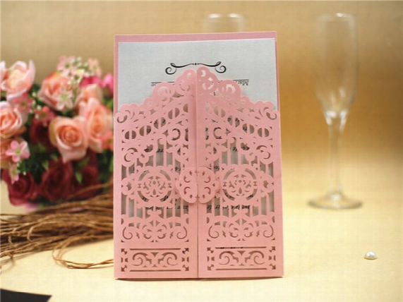 2017 Laser Cut Wedding Invitations Cards Pink Elegant Invitation With Envelopes Free Printable Invitation Customize Mariage Card
