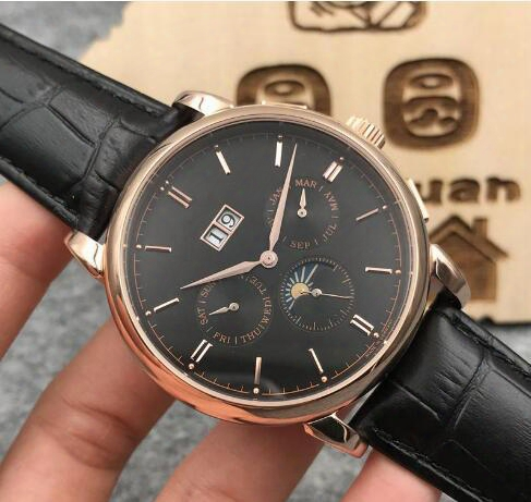 2017 New Men Rose Gold Multifunctional Automatic Mens Watch Rose Gold Black Casual Hollow Shell Imported Calfskin+free Shipping
