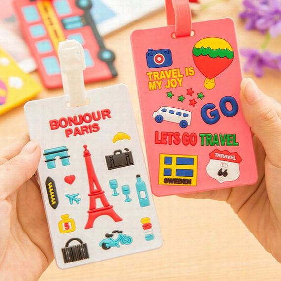 Air Plane Cartoon Qute Luggage Tag Travel Baggage Handbag Id Rubber Tags Name Card Holder