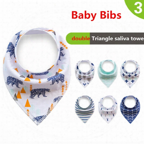 Baby Bibs Newborn Burp Cloths Bandana Infants Cotton Boys Girls Saliva Cute Arrow Animal Friuts Cartoon Feeding Scarf 2017 Ins