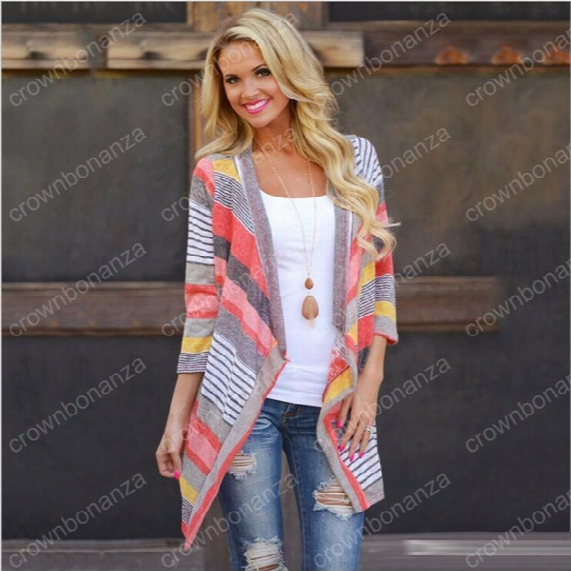 Cardigan Stripe Women Casual Sweater Loose Knit Tees Jacket Sleeved Coat Boho Outerwear Knitted Outwear Summer Tops Maxi Dress Clothes