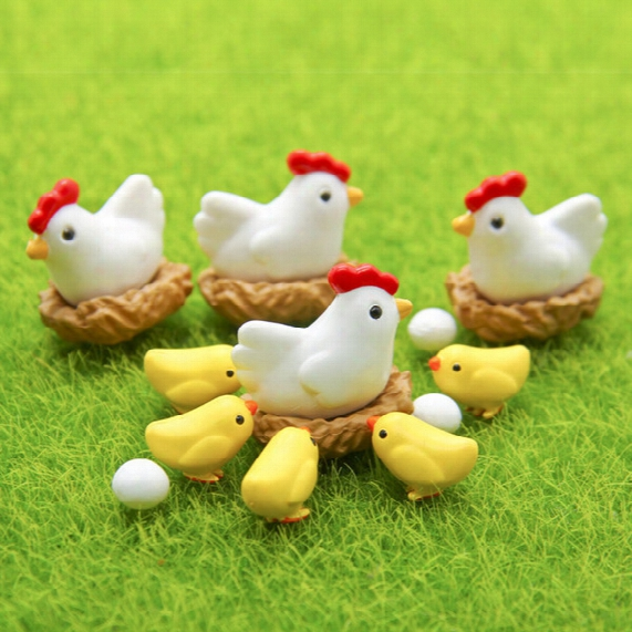Chicken Hen Chick Egg Nest Figurine Miniature Statue Decoration Fairy Garden Micro Cartoon Animal Resin Craft Animals Garden Bottle