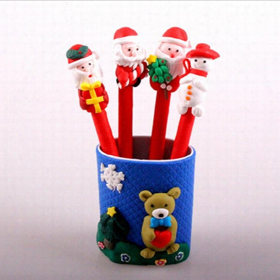 Christmas Kid Cartoon Pen Snowman Santa Claus Soft Ceramics Ballpoint Pen Red Christmas Craft Pen Kids Christmas Gift