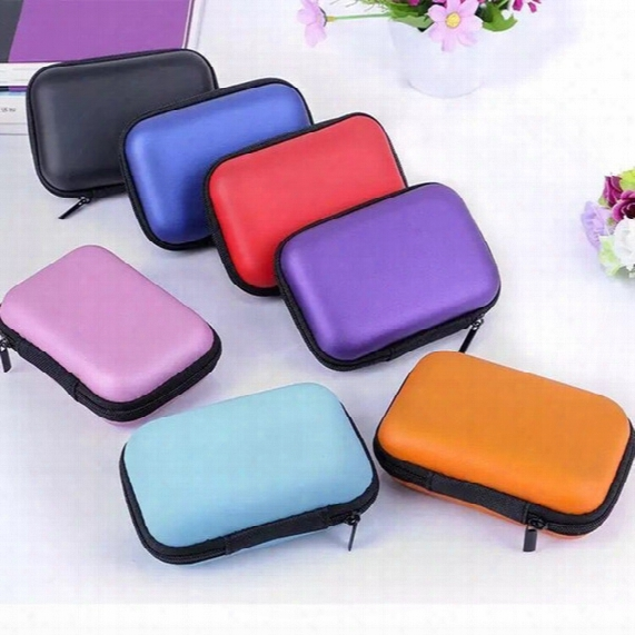 Colorful Earphone Storage Carrying Bag Rectangle Zipper Earpphone Earbud Eva Case Cover For Usb Cable Key Coin Free Dhl