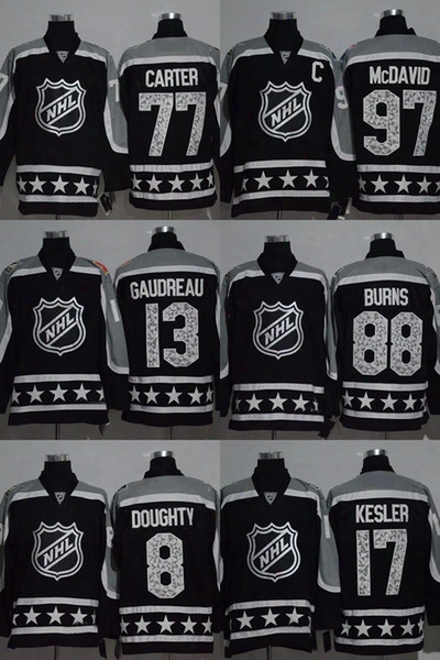 Factory Outlet Men's #97 Mcdavid #13 Gaudreau #88 Burns #8 Doughty #17 Kesler #77 Carter Blank Black 2017 Nhl All-star Game Hockey Jerseys
